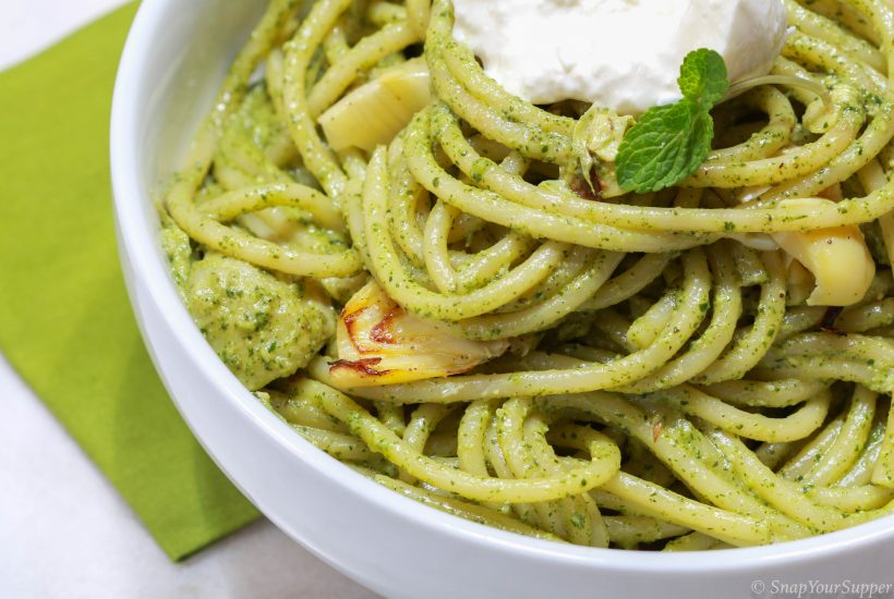 mint pesto bucatini burrata