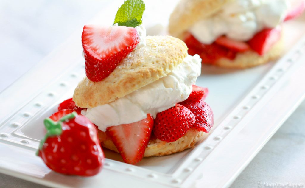 Orange infused honey macerated strawberry shortcake