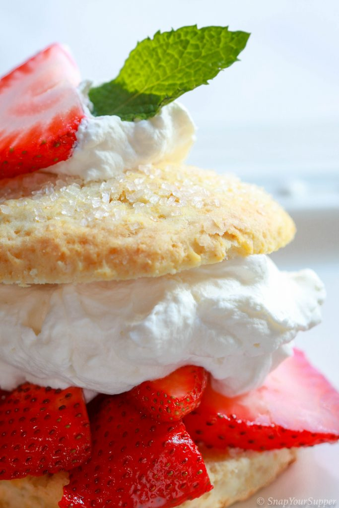orange honey macerated strawberry shortcake