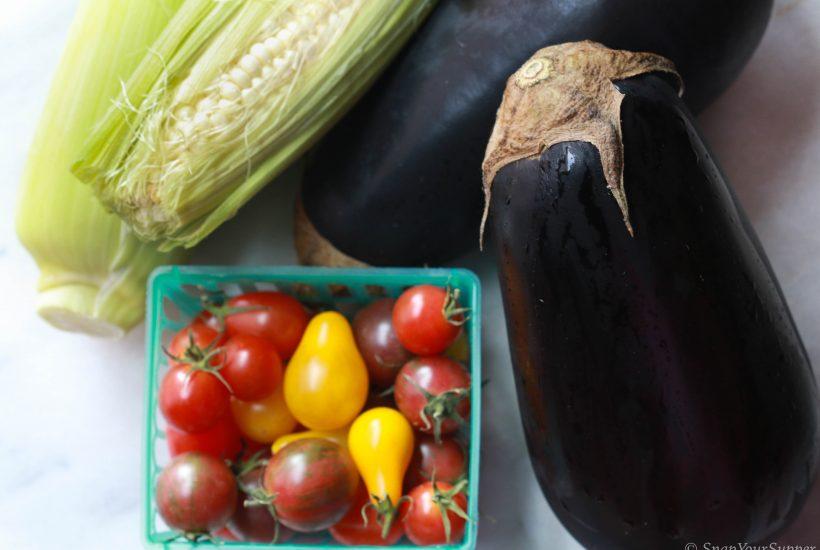 eggplant, grape tomatoes, sweet corn