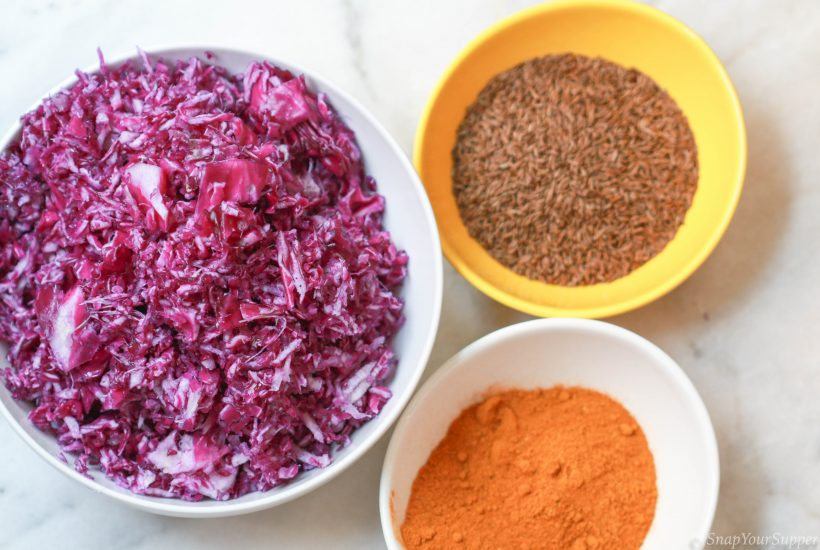 purple cabbage, curry powder, caraway seed