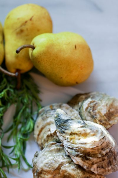 Oysters pears tarragon