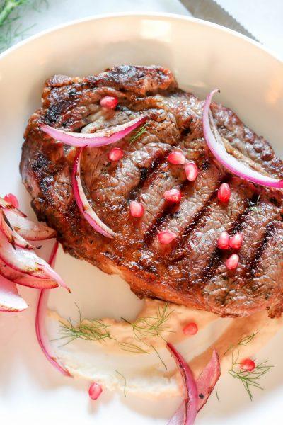 ribeye steak white bean puree