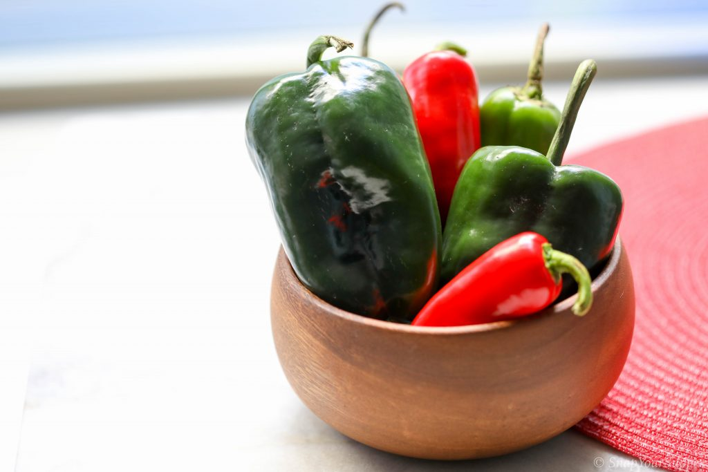 Poblano chilies, Anaheim chiles, Fresno Chiles