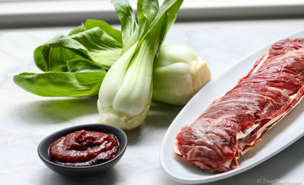 Weekly ingredients: skirt steak, bok choy, gochujang