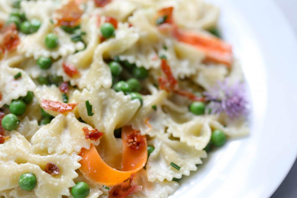 Artichoke & spring pea pasta recipe